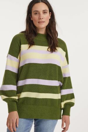 gestreepte fijngebreide trui donkergroen/lichtgeel/lila