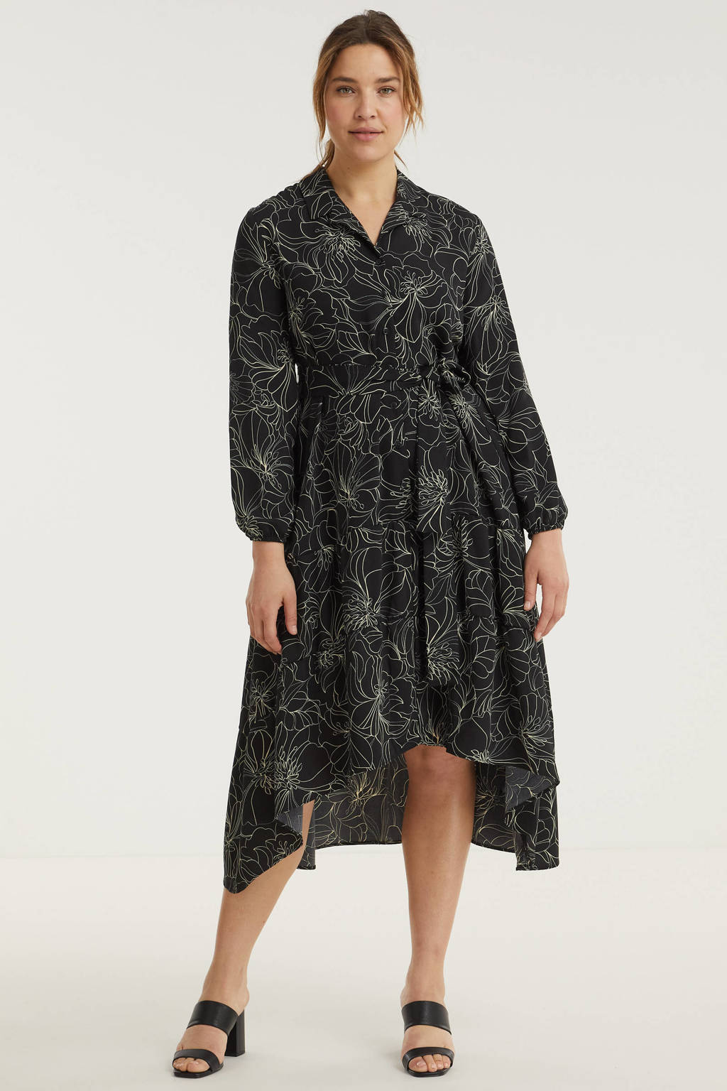 Simply Be gebloemde jurk zwart/wit, Zwart/wit