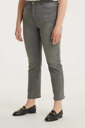 high waist straight fit jeans grey wash