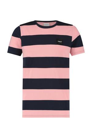 gestreept T-shirt donkerblauw/roze