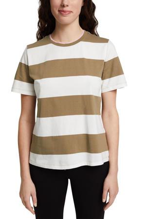 gestreept T-shirt van biologisch katoen wit/kaki