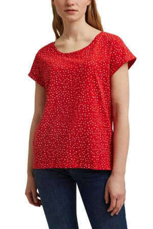T-shirt van biologisch katoen rood/wit