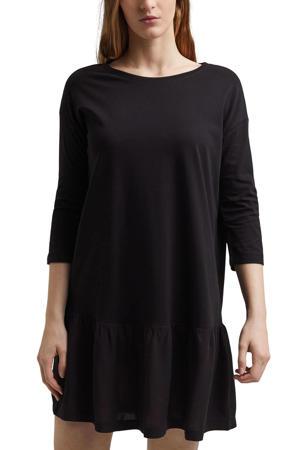 trapeze jurk met volant zwart