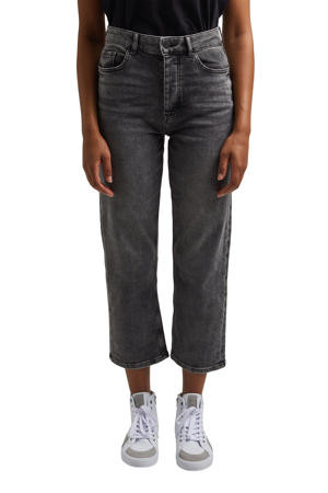 cropped high waist straight fit jeans grijs
