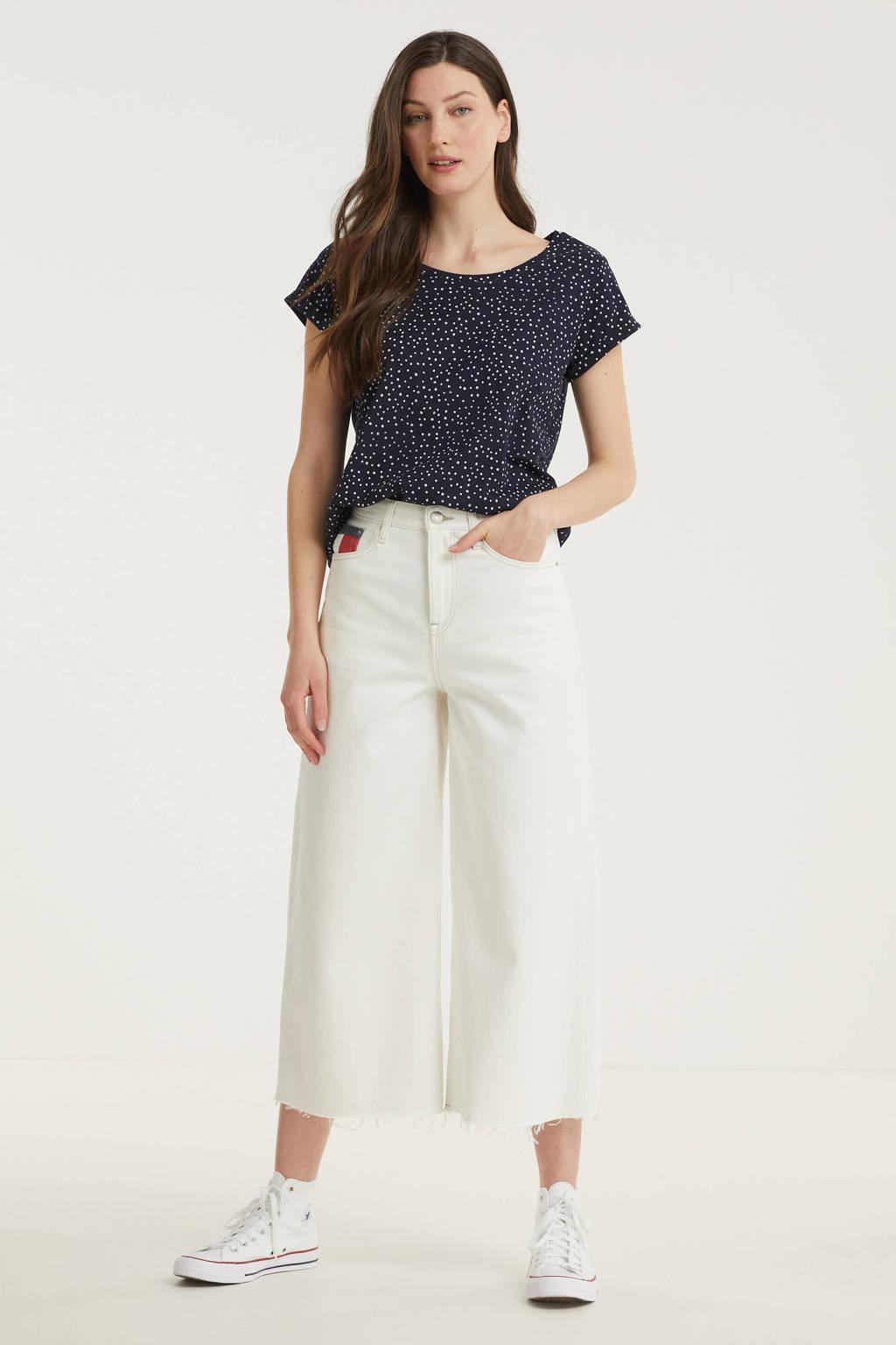 ESPRIT Women Casual T-shirt van biologisch katoen donkerblauw/wit, Donkerblauw/wit
