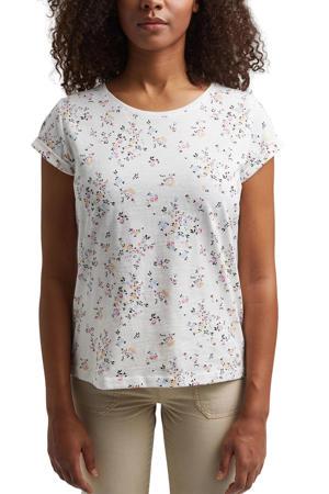 gebloemd T-shirt van biologisch katoen wit/multi