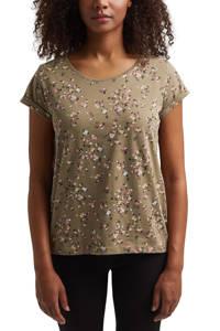 edc Women gebloemd T-shirt van biologisch katoen groen, Groen