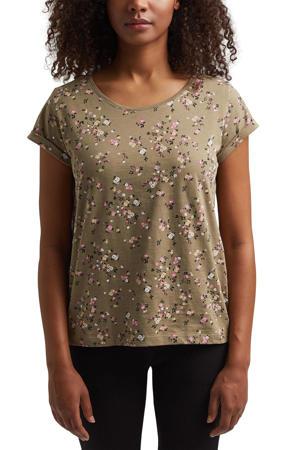 gebloemd T-shirt van biologisch katoen groen