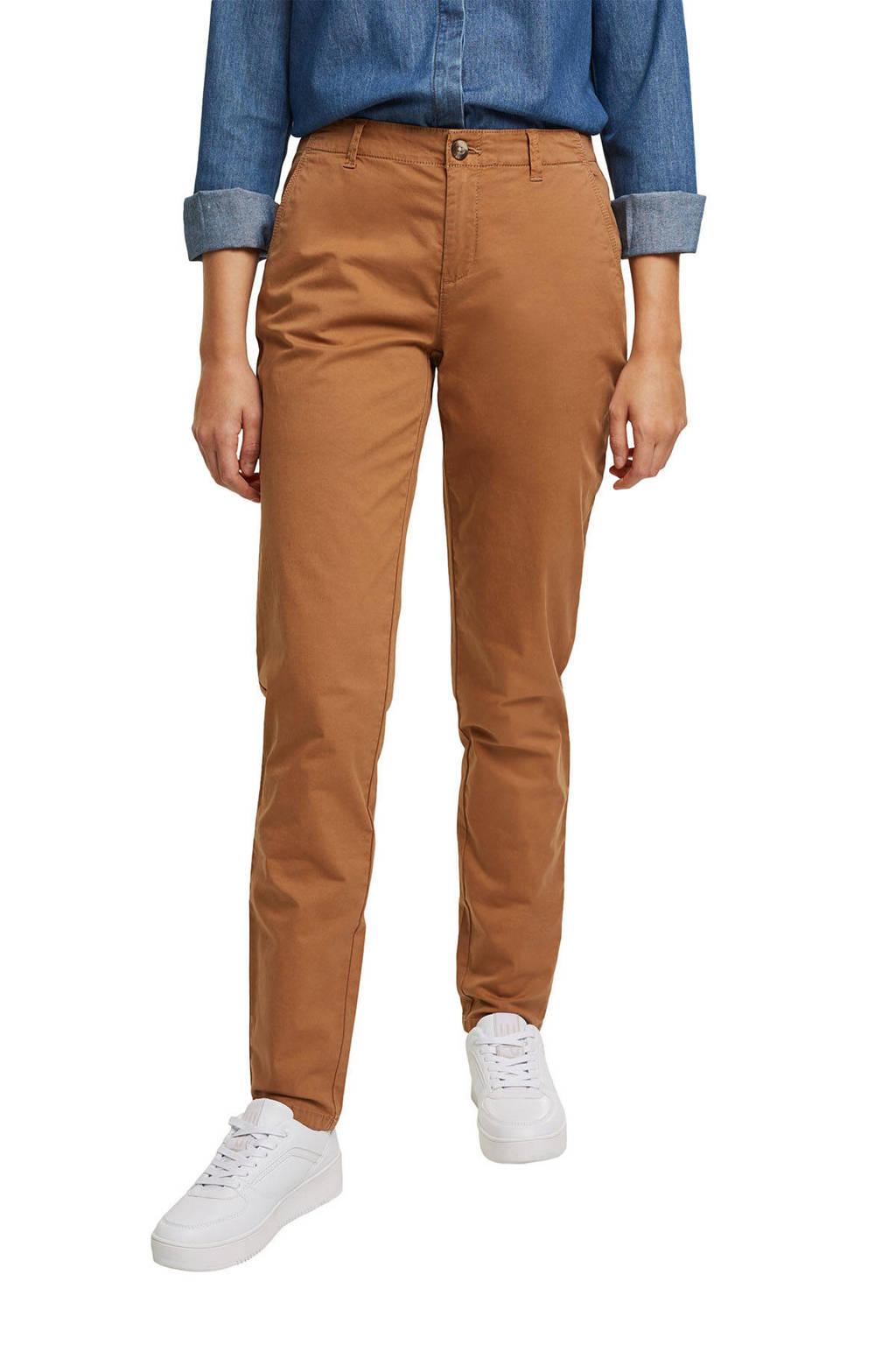 edc Women regular fit broek met biologisch katoen bruin, Bruin