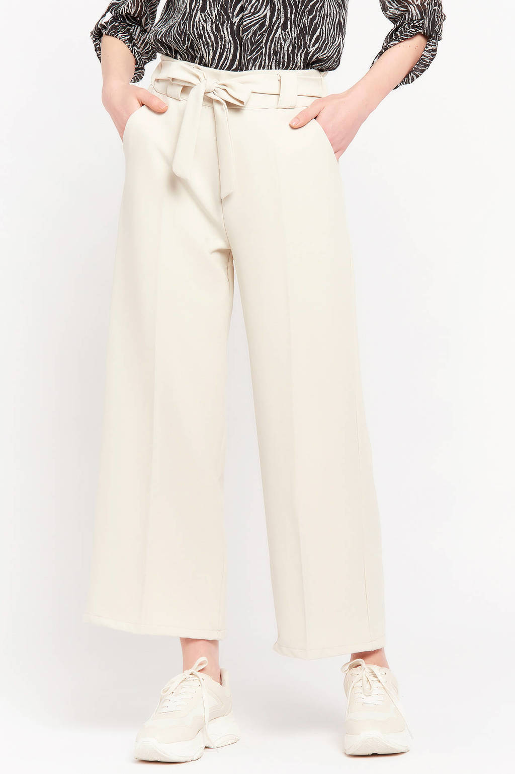 LOLALIZA high waist loose fit broek wit, Wit