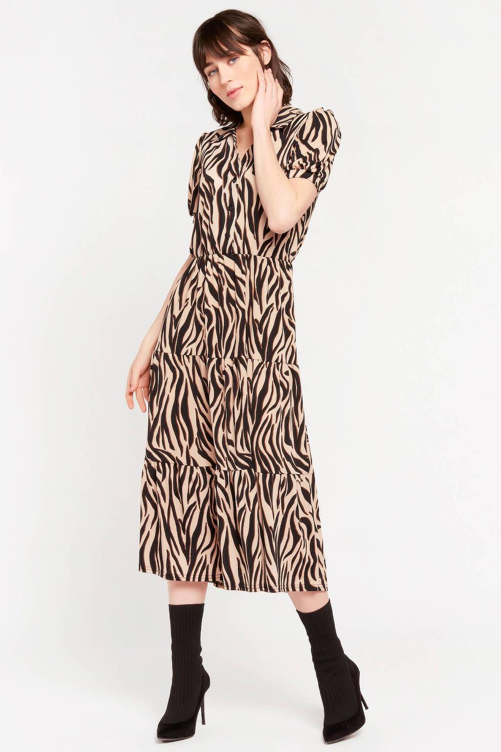LOLALIZA jurk met dierenprint zand, Zand
