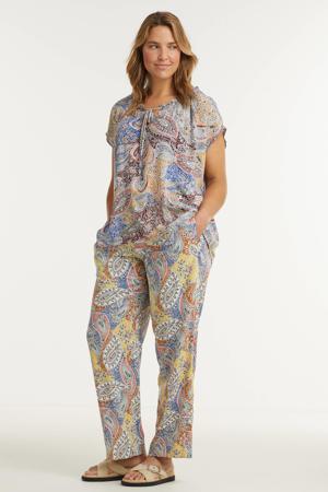 straight fit pantalon met paisleyprint geel/blauw/rood