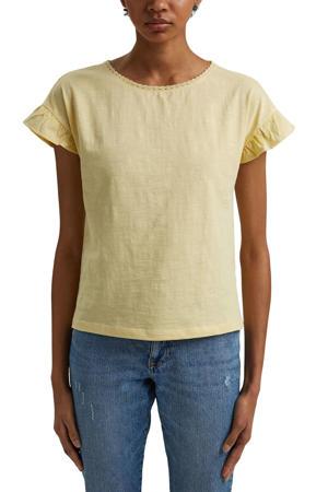 T-shirt van biologisch katoen lichtgeel