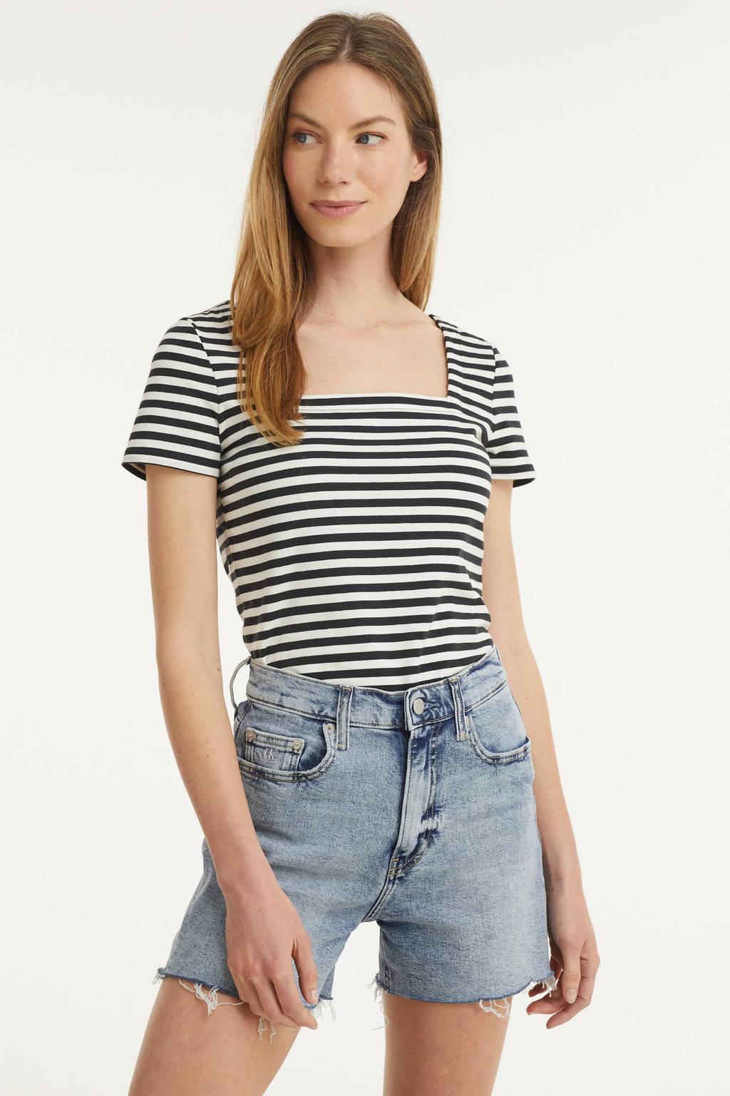 edc Women gestreept T-shirt met biologisch katoen zwart/wit, Zwart/wit