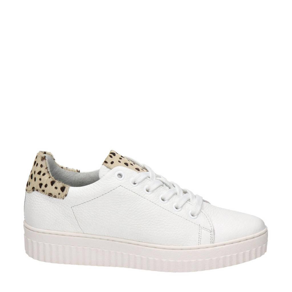 Nelson   leren sneakers met panterprint wit, Wit/beige