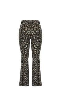 MS Mode high waist flared tregging met dierenprint zwart/beige/wit, Zwart/beige/wit