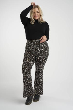 high waist flared broek met dierenprint zwart/beige/wit