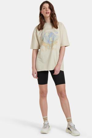 T-shirt Pastel met vervaagde printopdruk beige