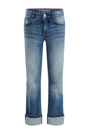 high waist straight fit jeans blue denim