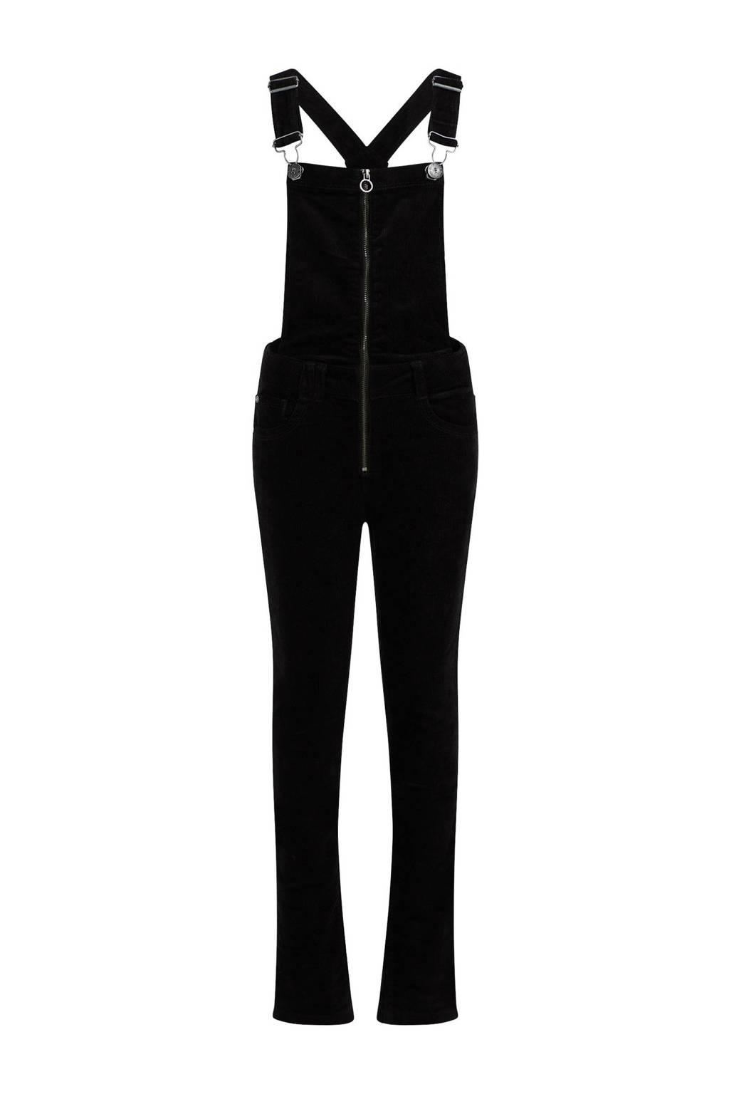 WE Fashion Blue Ridge corduroy tuinbroek zwart, Zwart