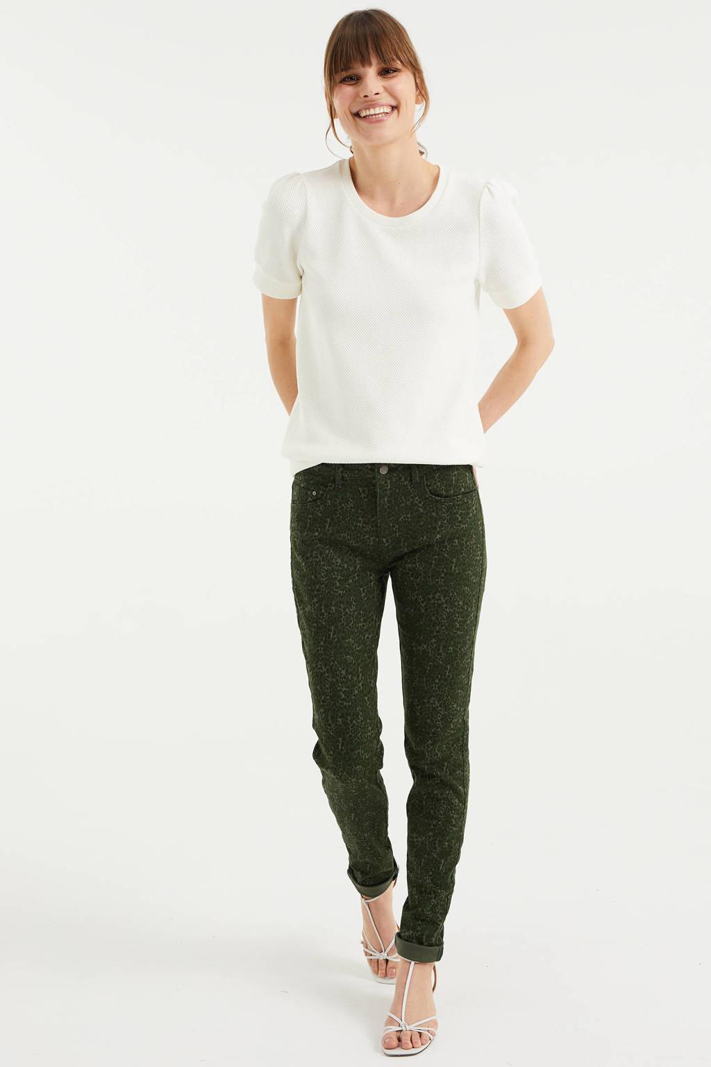 WE Fashion skinny broek met dierenprint donkergroen/beige/zwart