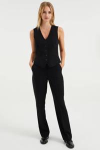 WE Fashion straight fit pantalon zwart, Zwart