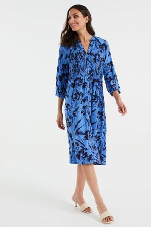 jurk met all over print blauw/zwart
