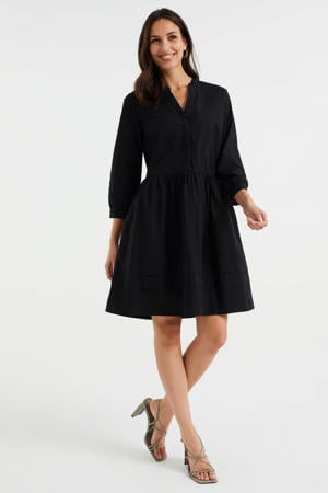 jurk met ruches black uni