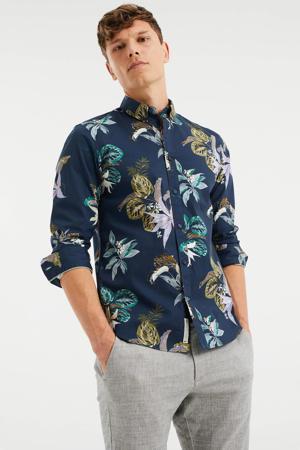 gebloemd slim fit overhemd royal navy