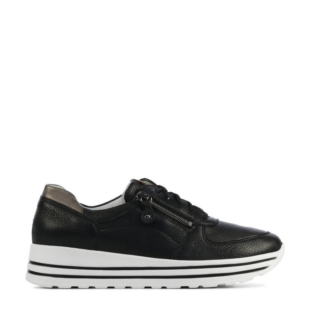 Waldlaufer 758009 comfort leren sneakers zwart/zilver, Zwar