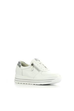 758009 comfort leren sneakers wit/zilver