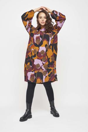 jurk met all over print en plooien oranje/donkerrood/lichtroze