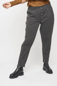 Adia cropped tapered fit pantalon met krijtstreep en sierstenen antraciet/donkerrood/beige, Antraciet/donkerrood/beige