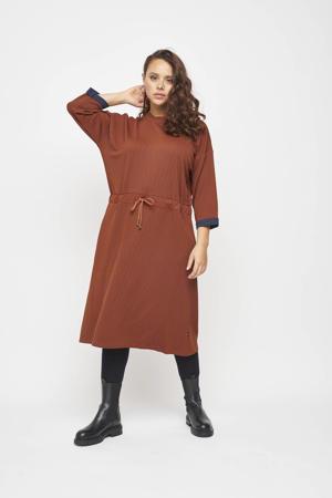 jurk met jacquard roodbruin/donkerblauw