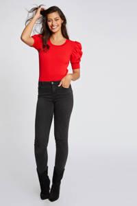Morgan fijngebreide trui met plooien rood, Rood