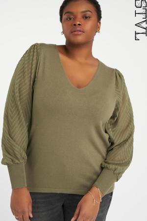 semi-transparante trui met textuur olijfgroen