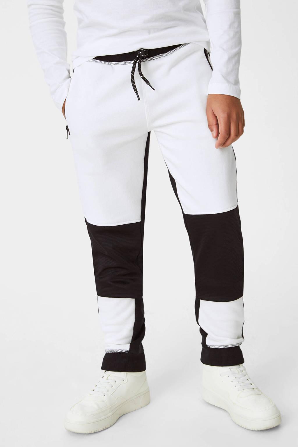 C&A joggingbroek met zijstreep wit/zwart, Wit/zwart