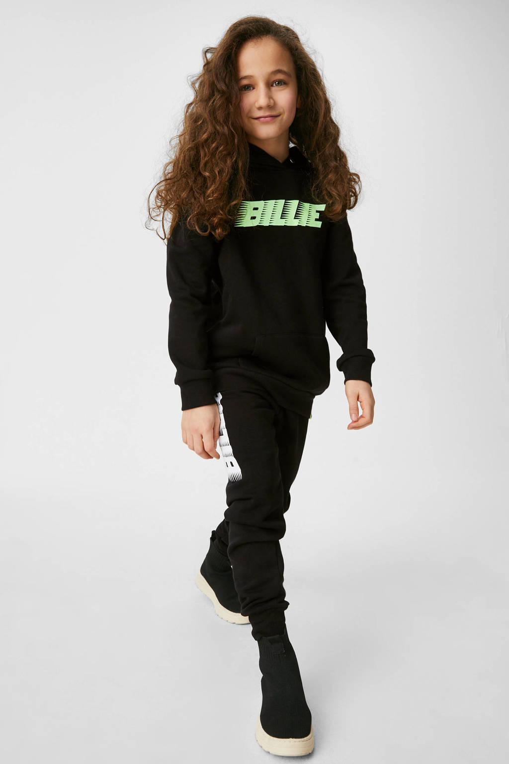 C&A hoodie met tekst zwart/neon groen