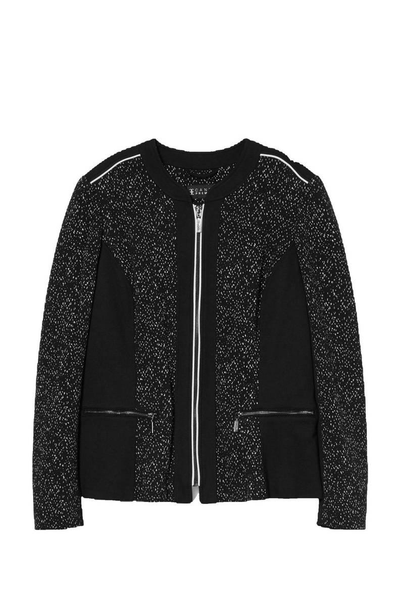 jasje met printopdruk en textuur zwart/wit