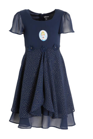 semi-transparante Disney jurk met printopdruk en 3D applicatie donkerblauw
