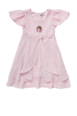 jurk met ruches en print roze