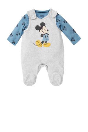 newborn boxpak met romper Mickey Mouse grijs/blauw