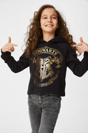 hoodie met printopdruk zwart/goud