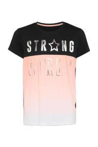 C&A T-shirt met tekst roze/zwart/zilver, Roze/zwart/zilver