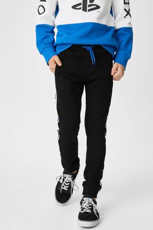 joggingbroek met zijstreep zwart/wit/blauw