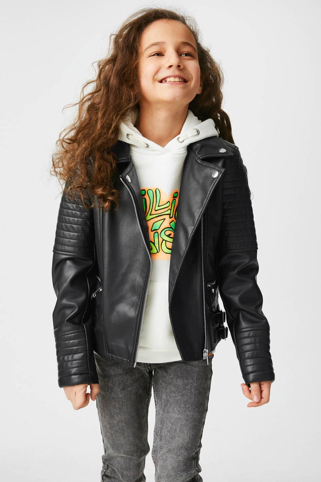 C&A hoodie met tekst wit/fel groen/oranje, Wit/fel groen/oranje