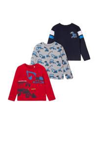 C&A longsleeve - set van 3 rood/grijs melange/donkerblauw, Rood/grijs melange/donkerblauw