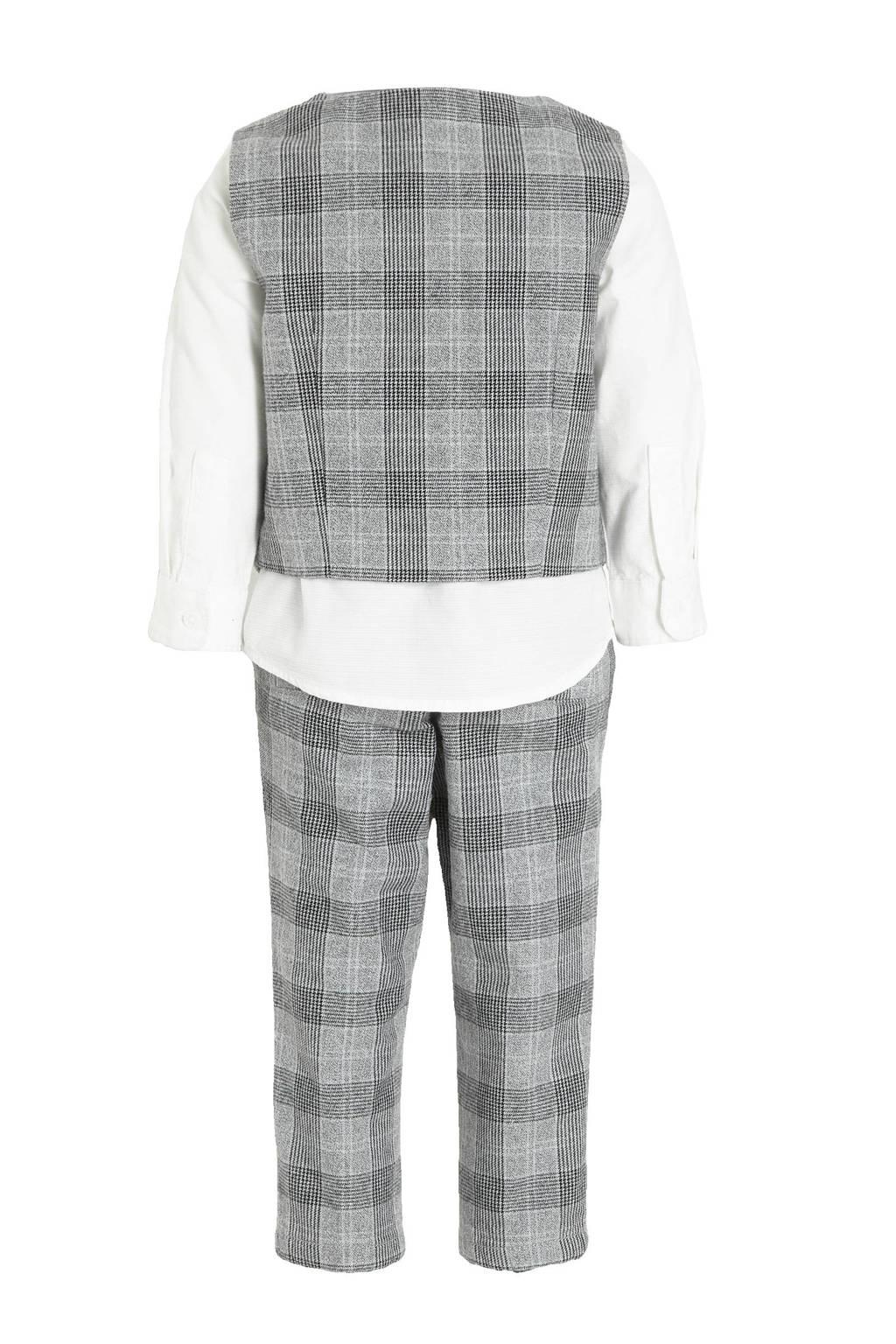 C&A overhemd + gilet + broek en bijpassende strik wit/grijs melange/zwart, Wit