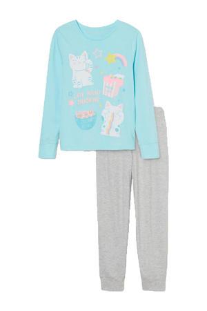 pyjama blauw/grijs melange