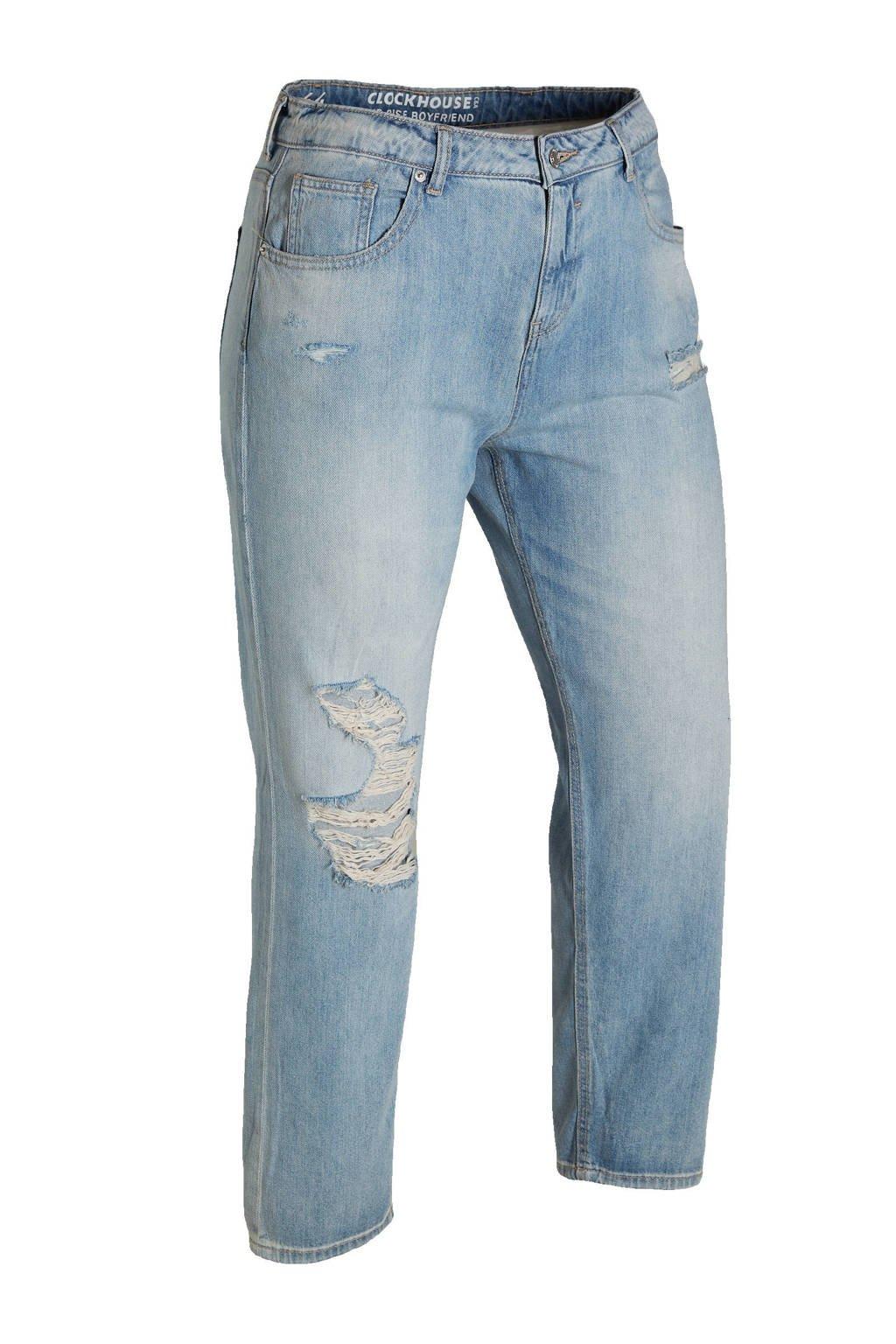 C&A XL Clockhouse cropped straight fit jeans lichtblauw, Lichtblauw